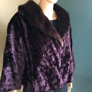 Terry Lewis plus 1x crushed velvet faux fur jacket